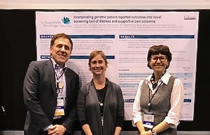 Dr. Lawrence Feldman, Mary Pasquenelli from UI Health and Julia Trosman, Center for Business Models in Healthcare at ASCO 18 poster session